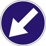 Znak C-10 Nakaz jazdy z lewej strony znaku - drogowy nakazu - Wielkości znaków drogowych pionowych