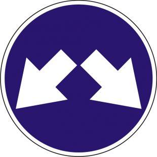 Znak C-11 Nakaz jazdy z prawej lub lewej strony znaku - drogowy nakazu