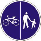 Znak wskazujący ruch rowerów lewą stroną drogi i ruch pieszych prawą stroną drogi.