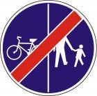 Znak C-13a/16a - pionowo - Koniec ruchu rowerów i pieszych - drogowy nakazu