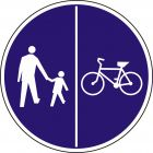 Znak C-16/13 - pionowo - Znak wskazujący ruch pieszych lewą stroną drogi i ruch rowerów prawą stroną drogi - drogowy nakazu