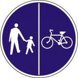 Znak C-16/13 - pionowo - Znak wskazujący ruch pieszych lewą stroną drogi i ruch rowerów prawą stroną drogi - drogowy nakazu - Znaki rowerowe na drodze