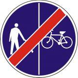 Znak C-16a/13a - pionowo - Koniec ruchu pieszych i rowerzystów - drogowy nakazu - Droga dla pieszych i rowerzystów – jak oznakowane są ścieżki pieszo-rowerowe?