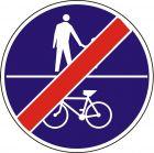 Znak C-16a/13a - poziomo - Koniec ruchu pieszych i rowerów na tej samej drodze - drogowy nakazu