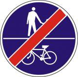 Znak C-16a/13a - poziomo - Koniec ruchu pieszych i rowerów na tej samej drodze - drogowy nakazu - Droga dla pieszych i rowerzystów – jak oznakowane są ścieżki pieszo-rowerowe?