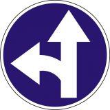 Znak C-7 Nakaz jazdy prosto lub w lewo - drogowy nakazu - Zakaz ruchu w obu kierunkach – znak B-1