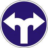 Znak C-8 Nakaz jazdy w prawo lub w lewo - drogowy nakazu - Zakaz ruchu w obu kierunkach – znak B-1