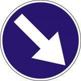 Znak C-9 Nakaz jazdy z prawej strony znaku - drogowy nakazu - Wielkości znaków drogowych pionowych