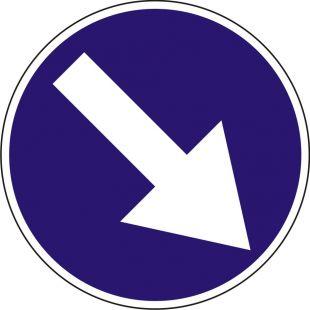 Znak C-9 Nakaz jazdy z prawej strony znaku - drogowy nakazu