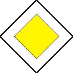 Znak D-1 Droga z pierwszeństwem - drogowa tablica informacyjna