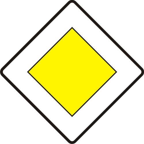 Znak D-1 Droga z pierwszeństwem - drogowa tablica informacyjna - Znaki informacyjne – znaki drogowe, cz. IV