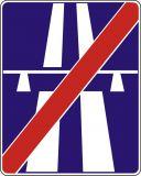 Znak D-10 Koniec autostrady - drogowa tablica informacyjna - Ograniczenia prędkości obowiązujące w Polsce