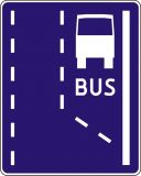 Znak D-11 Początek pasa ruchu dla autobusów buspas - drogowa tablica informacyjna - Znaki informacyjne – znaki drogowe, cz. IV