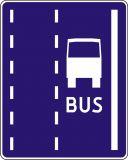 Znak D-12 Pas ruchu dla autobusów buspas - drogowa tablica informacyjna - Znaki informacyjne – znaki drogowe, cz. IV