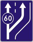 Znak D-13 Początek pasa ruchu powolnego - drogowa tablica informacyjna