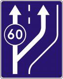 Znak D-13 Początek pasa ruchu powolnego - drogowa tablica informacyjna - Znaki informacyjne – znaki drogowe, cz. IV
