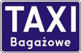 """Znak D-19a Postój taxi taksówek bagażowych - drogowa tablica informacyjna - Przekreślony znak """"TAXI"""""""