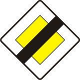 Znak D-2 Koniec drogi z pierwszeństwem - drogowa tablica informacyjna - Ustąp pierwszeństwa – znak ostrzegawczy A-7