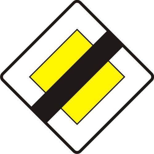Znak D-2 Koniec drogi z pierwszeństwem - drogowa tablica informacyjna - Znaki informacyjne – znaki drogowe, cz. IV