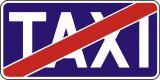 """Znak D-20 Koniec postoju taxi taksówek - drogowa tablica informacyjna - Przekreślony znak """"TAXI"""""""