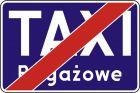 Znak D-20a Koniec postoju taxi taksówek bagażowych - drogowa tablica informacyjna