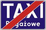 """Znak D-20a Koniec postoju taxi taksówek bagażowych - drogowa tablica informacyjna - Przekreślony znak """"TAXI"""""""