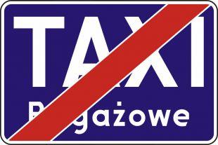 Znak D-20a Koniec postoju taxi taksówek bagażowych - drogowy informacyjny
