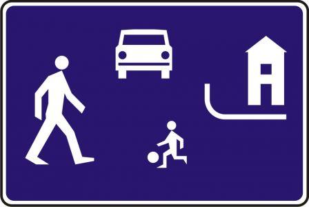 Znak D-40 Strefa zamieszkania - drogowa tablica informacyjna - Ruch pieszych wzdłuż drogi