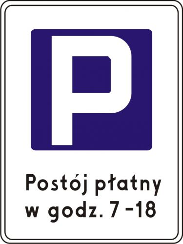 Znak D-44 Strefa parkowania - drogowy informacyjny - Strefa płatnego parkowania
