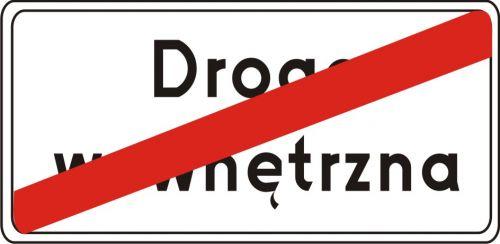 Znak D-47 Koniec drogi wewnętrznej - drogowa tablica informacyjna - Droga wewnętrzna (znak D-46)