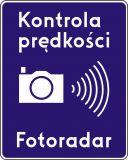 Znak D-51 Automatyczna kontrola prędkości fotoradar - drogowa tablica informacyjna - Liternictwo znaków drogowych pionowych