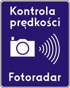 Znak D-51 Automatyczna kontrola prędkości fotoradar - drogowa tablica informacyjna - Fotoradary – nowe oznaczenia