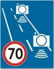 Znak D-51a Początek strefy objętej pomiarem średniej prędkości - fotoradar pomiar odcinkowy - drogowa tablica informacyjna