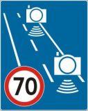Znak D-51a Początek strefy objętej pomiarem średniej prędkości - fotoradar pomiar odcinkowy - drogowa tablica informacyjna - Fotoradary – nowe oznaczenia