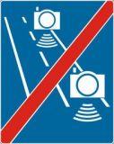 Znak D-51b Koniec strefy objętej pomiarem średniej prędkości - fotoradar pomiar odcinkowy - drogowa tablica informacyjna - Fotoradary – nowe oznaczenia
