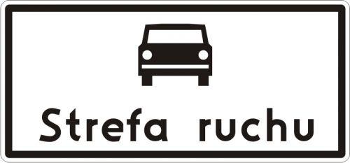 Znak D-52 Strefa ruchu - drogowa tablica informacyjna - Strefa ruchu (znak D-52)