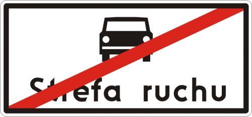 Znak D-53 Koniec strefy ruchu - drogowa tablica informacyjna - Strefa ruchu (znak D-52)