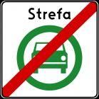 Znak D-55 Koniec strefy czystego transportu - drogowa tablica informacyjna