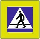 Znak D-6 Przejście dla pieszych - drogowa tablica informacyjna FLUO