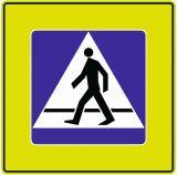 Znak D-6 Przejście dla pieszych - drogowa tablica informacyjna FLUO - Zmiany w przepisach ruchu drogowego 2021