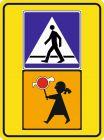 Znak D-6 Przejście dla pieszych - drogowa tablica informacyjna T-27 Uwaga dzieci!