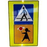 Znak D-6 Przejście dla pieszych - drogowy informacyjny T-27 Uwaga dzieci! - Folie odblaskowe na znakach drogowych