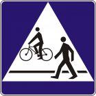 Znak D-6b Przejście dla pieszych i przejazd dla rowerzystów - drogowa tablica informacyjna