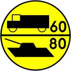 Znak drogowy wojskowy W-3 Klasa obciążenia mostu o ruchu jednokierunkowym dla pojazdów kołowych i gąsienicowych