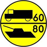 Znak drogowy wojskowy W-3 Klasa obciążenia mostu o ruchu jednokierunkowym dla pojazdów kołowych i gąsienicowych - Znaki dla kierujących pojazdami wojskowymi