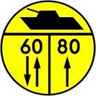 Znak drogowy wojskowy W-5 Klasa obciążenia mostu o ruchu dwukierunkowym dla pojazdów gąsienicowych