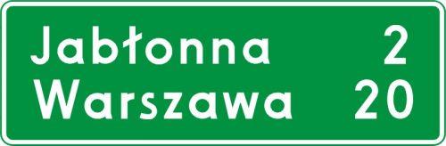 Znak E-13 Znak odległości od miejscowości - drogowy kierunku miejscowości - Znaki kierunku i miejscowości – znaki drogowe, cz. VI