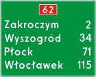 Znak E-14 Znak numeru drogi i odległości od miejscowości - drogowy kierunku miejscowości