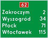 Znak E-14 Znak numeru drogi i odległości od miejscowości - drogowy kierunku miejscowości - Normy dla znaków drogowych