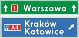 Znak E-2f Drogowskaz tablicowy umieszczany obok jezdni przed wjazdem na autostradę - drogowy kierunku miejscowości - Liternictwo znaków drogowych pionowych